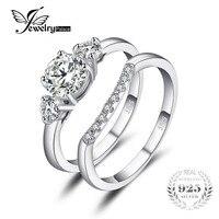 JewelryPalace Nişan 1.4ct Kübik Zirkonya 3 Taş Düğün Gelin Yüzük Seti 925 Gümüş Yeni Geliş Alyans