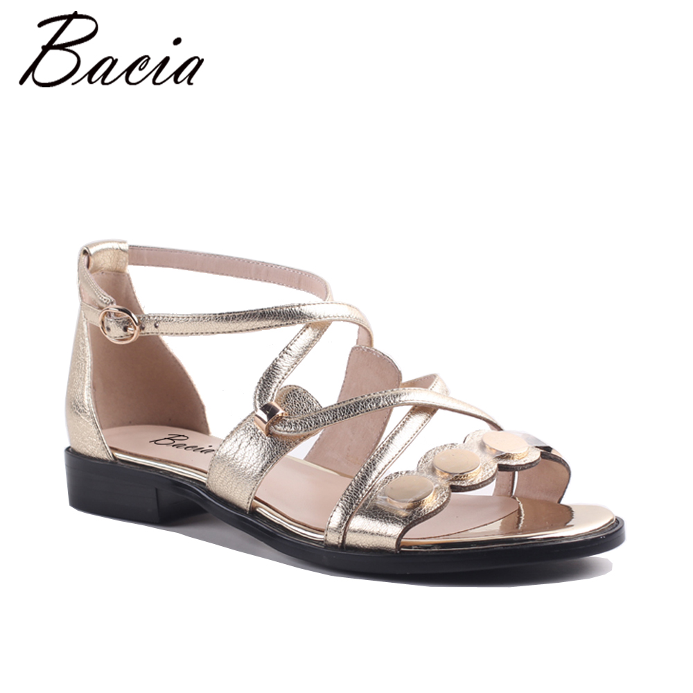 Bacia New Summer Sandals High Quality Genuine Leather Casual Summer Women Sandals Flat Shoes Golden Girls Fashion Footwear MA015 2015 brand new golden goose casual fashion genuine leather women