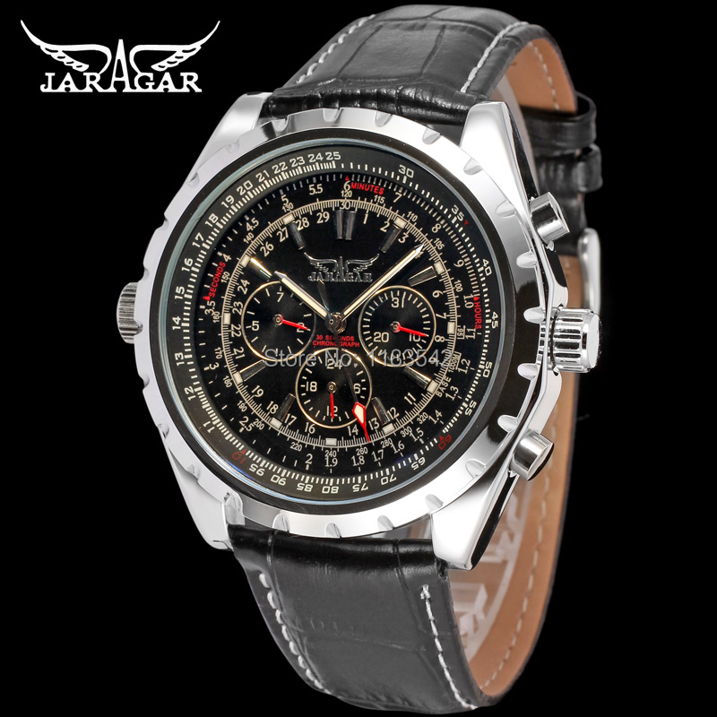 Jargar JAG6905M3S1  new men Automatic  fashion dress watch silver color wristwatch with black leather band  free shipping jargar jag6902m3s2 automatic dress wristwatch silver color with black leather steel band for men hot selling free shipping