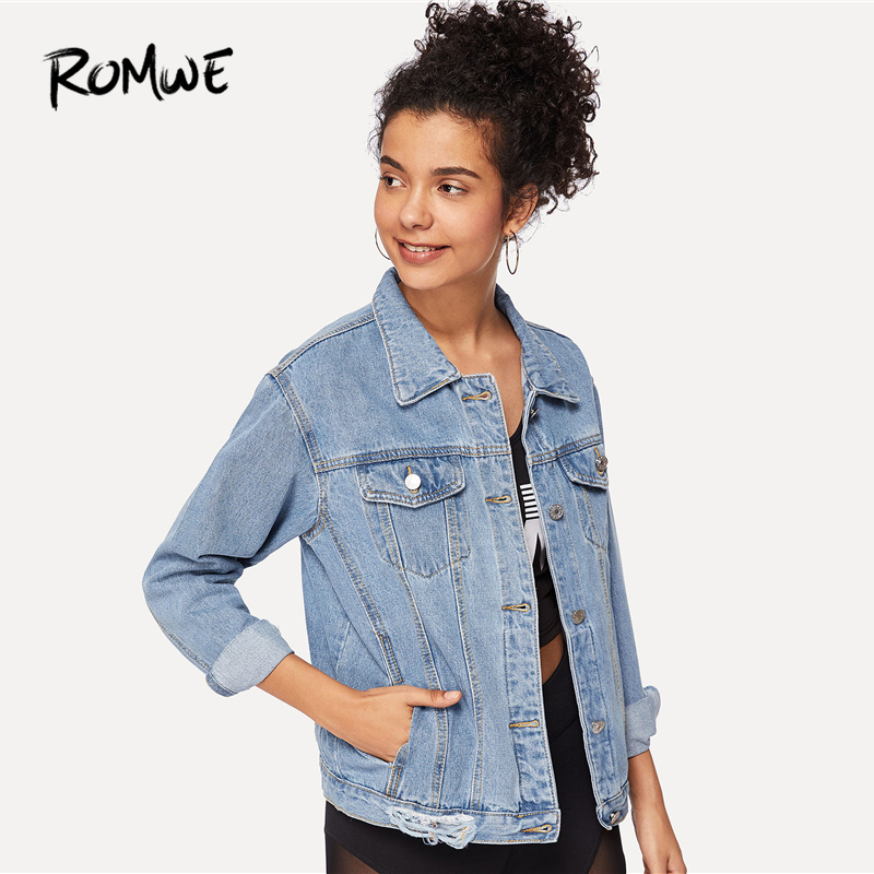 17fb98e677 ROMWE Ripped Button Bleach Wash Pocket Front Denim Jacket Ladies Spring  Autumn Blue Plain Clothing Collar Long Sleeve Outerwear-in Basic Jackets  from ...