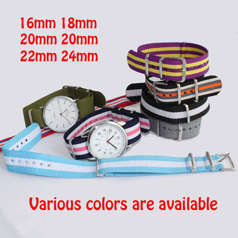 Watchband Nato Nylon Watch Band Various Colors Choose for Belt Wristband Gift 16/18/20/22/24mm dw Watch Strap for Boys and Girls