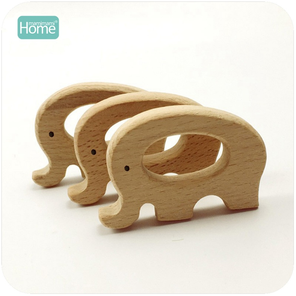 MamimamiHome Baby Rattles 20pc Beech Wooden Elephant Teether Bracelet Toys For Newborns Baby Montessori Gym Toys