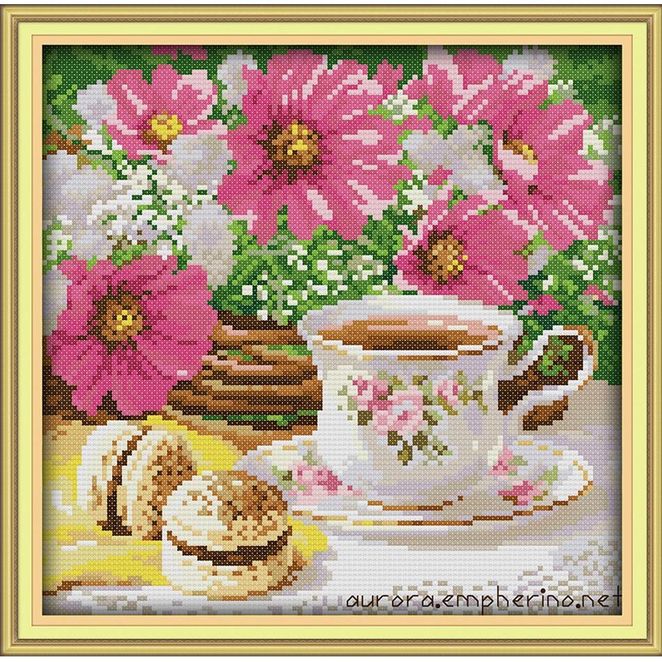 Joy Sunday,Afternoon tea,cross stitch embroidery set,printing cloth embroidery kit,needlework,DIY cross stitch embroidery kit (2)