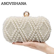 ANOVISHANA Beading Wedding Lady Day Clutch Tote Rhinestones Luxury Handmade Style Women Evening Bags Pearl Diamonds Purse Bag