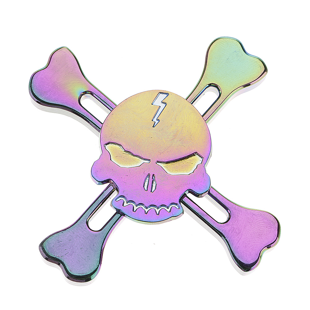 Colorful Skull Bones Four ADHD Anxiety Autism Stress Reducer Fidget Hand Spinner