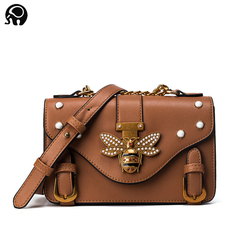 2018 Winder new wild mini bag bee pearl rivet shoulder bag European and American fashion Messenger bag Luxury Brand Designer Bag ultra luxury 2 3 5 modes german motor watch winder white color wooden black pu leater inside automatic watch winder