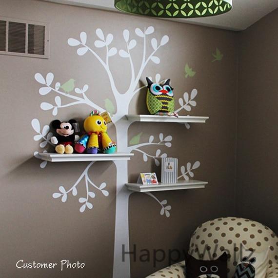 Ev ve Bahçe'ten Duvar Çıkartmaları'de Bebek Kreş Ağaç Duvar Sticker Ağaç Duvar Çıkartması Ev Kuşlar Dekoratif DIY Raf Aile Dekor Çocuk Odası Raf Ağacı Sıcak satış T42'da  Grup 1