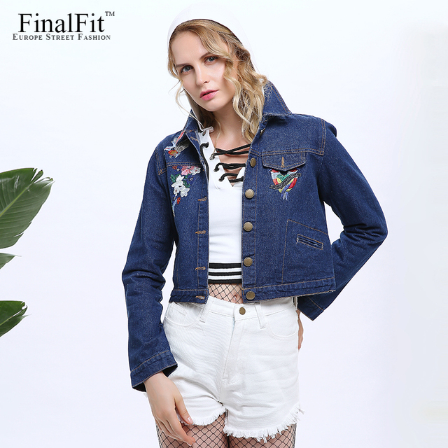 FinalFit Cropped Jeans Jacket Women Floral Embroidery Short Autumn ...