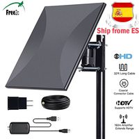 160 miles Range 318A indoor Digital HDTV Antenna with Amplifier Signal Booster Antenna Supports 360 degree receive signals