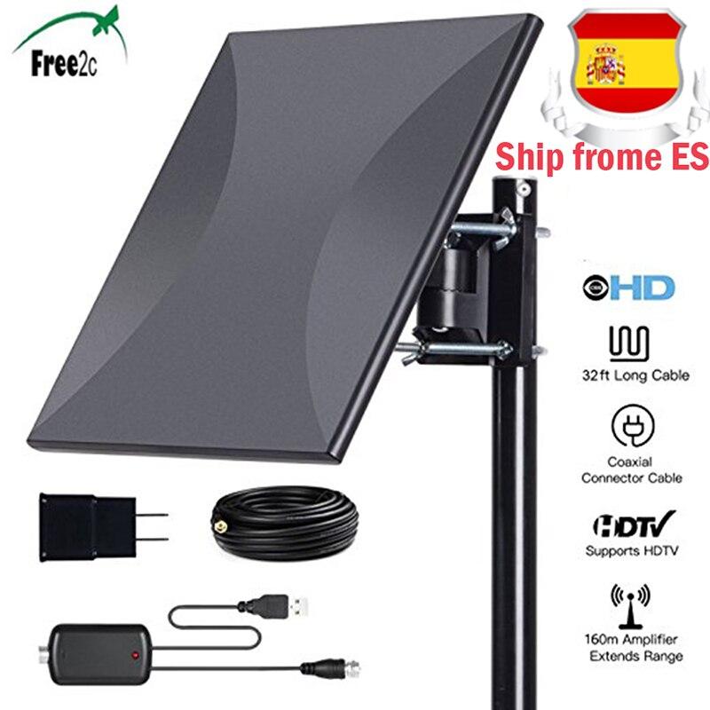 160 miles gamme 318A antenne HDTV numérique intérieure avec amplificateur Signal Booster antenne prend en charge les signaux de réception à 360 degrés