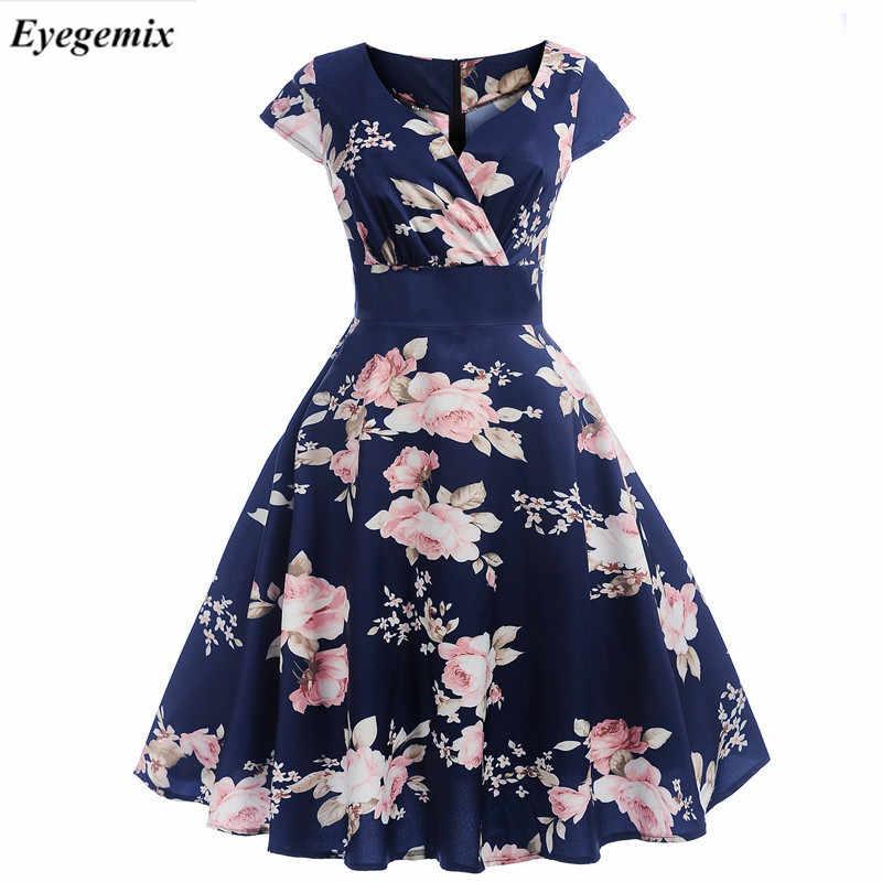 03ce9dc42f360 2019 V Neck Big Swing Vintage Christmas Dress Women Summer 50s ...