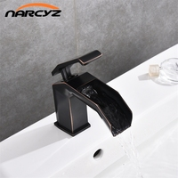 Black waterfall basin faucet bathroom black crane deck mounted sink tap cold and hot mixer tap basin mixer black tap B565