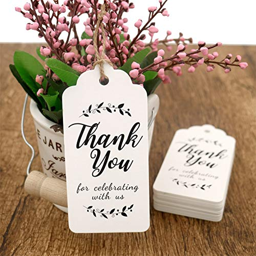 Купить с кэшбэком 100pcs thank you paper tags for Celebrating with Us wedding decoration gift tags Packaging Hang Tags stationery labels