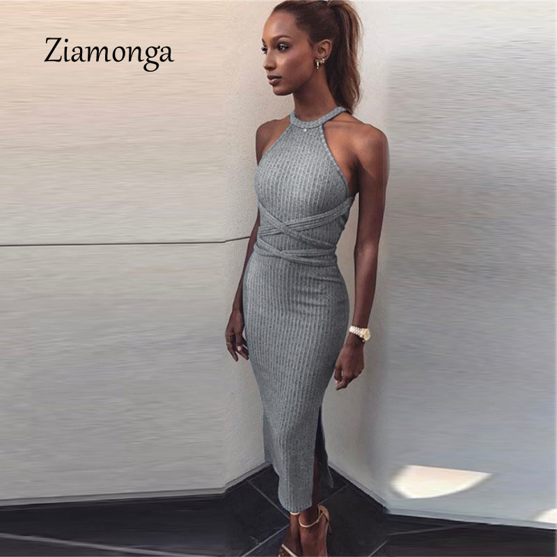 Ziamonga Halter Backless Kreuz Verband-kleid Sexy Schulterfrei Split Bodycon Strickkleid Herbst Sleeveless Dünnen Frauen Kleider