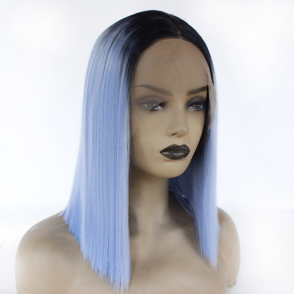 Blunt Straight Short Synthetic Lace Front Wig Glueless Black Roots Ombre Light Blue Heat Resistant Fiber