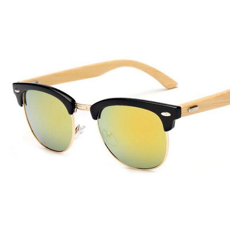 Mode Rétro Bambou lunettes de Soleil Hommes Semi-Monture Bois Lunettes de Soleil  Femmes Marque Designer Vintage UV400 Lunettes Lunettes De Soleil 1445429fc716