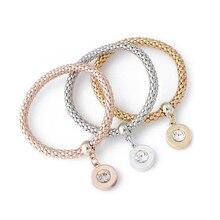 1set 3pcs font b fashion b font Crystal Elastic Rhinestones circular Pendant Bracelet font b Jewelry