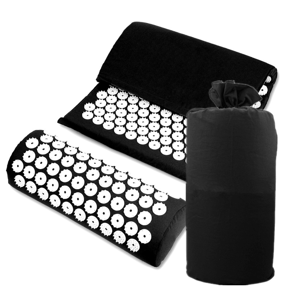 Acupressure Mat Massage Cushion with Carry Bag for Travel Relieve Back Neck Stress Pain Acupuncture Spike Yoga Mat with Pillow fitness equipment acupuncture spike yoga pillow for muscles relieve the stress pain of neck head back massage relax c11497