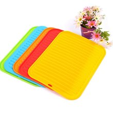 Large Silicone Drying Mat Dish Drying Placemat Non-slip Table Placemat Silicone Counter Mat Glass Coaster Kitchen Tools(China)