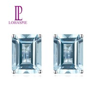Lohaspie Aquamarine Stud Earrings 14K White Real Gold  Natural GemStone AAA Color Earrings Fine Jewelry For Women's Best Gift