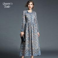 NEW Elegant Woman Lace Dress Ruffles Neck Blue Midi Dress Lady Party Dress