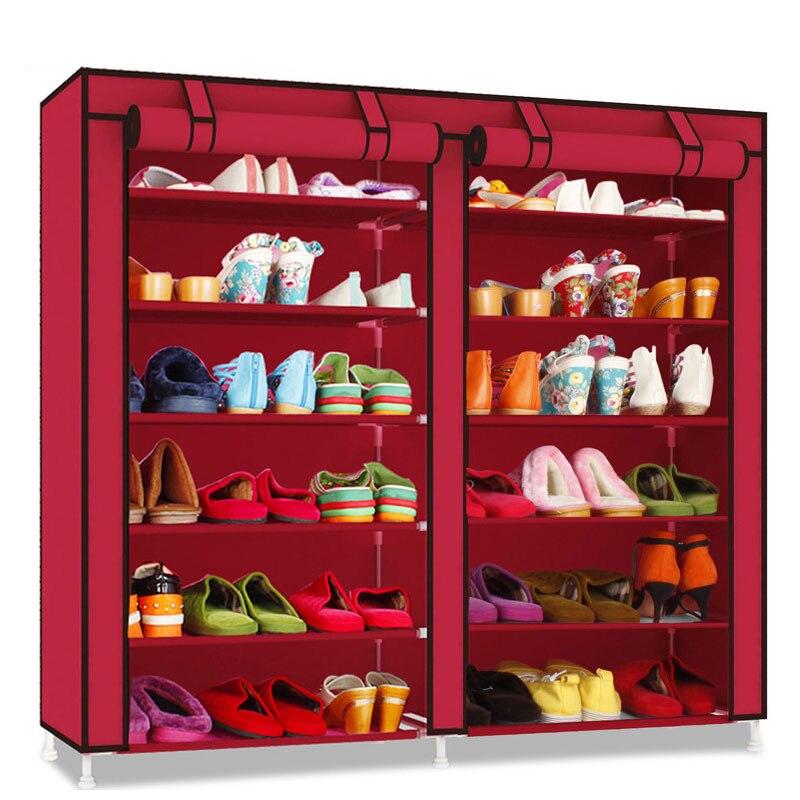 Minimalist Shoe Rack Double Row 6 Layer Thicken Oxford Cloth Shoe Cabinet Dustproof Shoe Organizer Storage Furniture