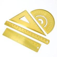 Набор из 4 предметов металлическая линейка из нержавеющей стали треугольная линейка Золотой Ретро полукруг инструмент транспортир треугольная линейка для рисования