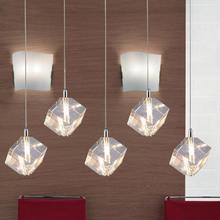 Llevó colgante lámparas de cristal de comedor Restaurante de Cocina bar luz 5 unids G4 led lámparas colgantes de cristal de hielo de cristal Lampe