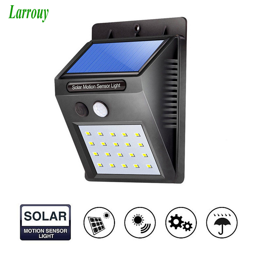 Waterproof LED Solar Light Motion Sensor Outdoor Solar Wall Light Lamp lighting for Garden Yard Path Street Solar Lamp 20LED 46 led solar light with motion sensor security lamp ultra thin ip65 waterproof 1200 lumens for garden outdoor path lighting
