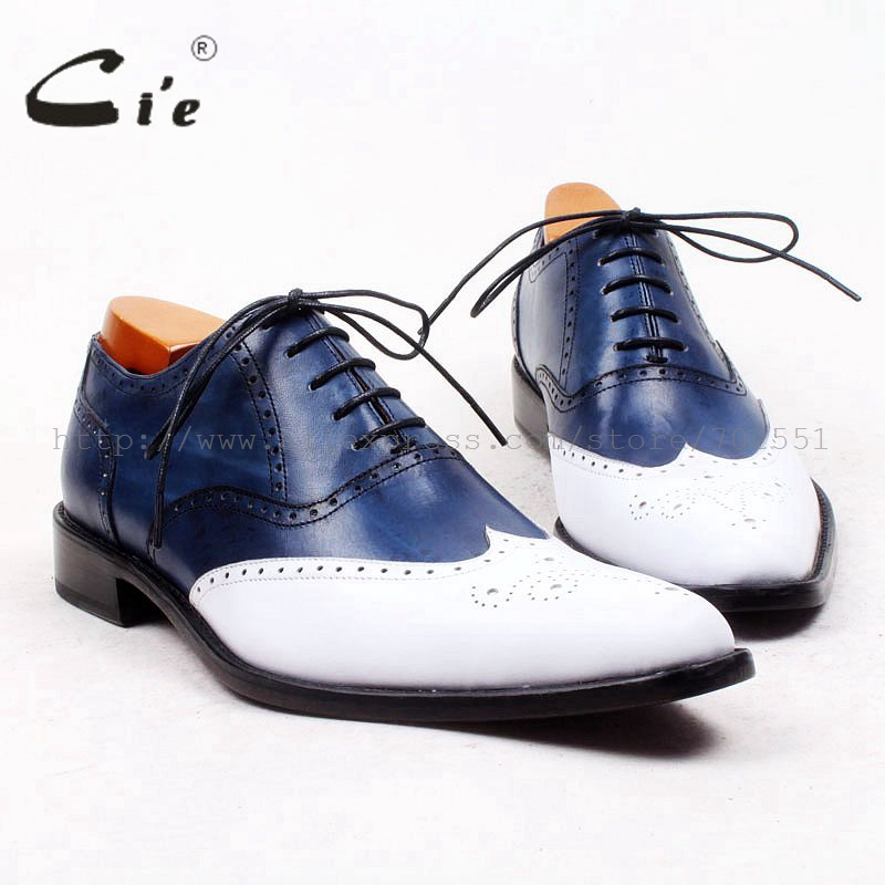 cie pointed full brogues bespoke custom handmade pure genuine calf leather outsole breathable men's casual bluewhite shoe OX446