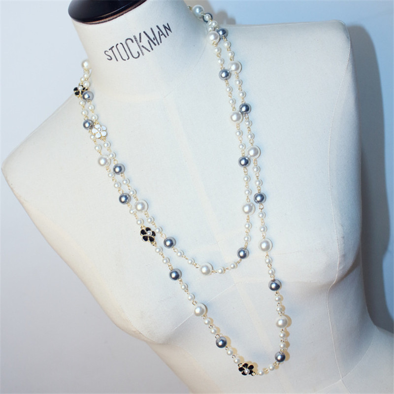 CX-Shirling  Long Necklaces For Women New Fashion Classic Simulate Pearl Flowers Sweater Chain Necklace