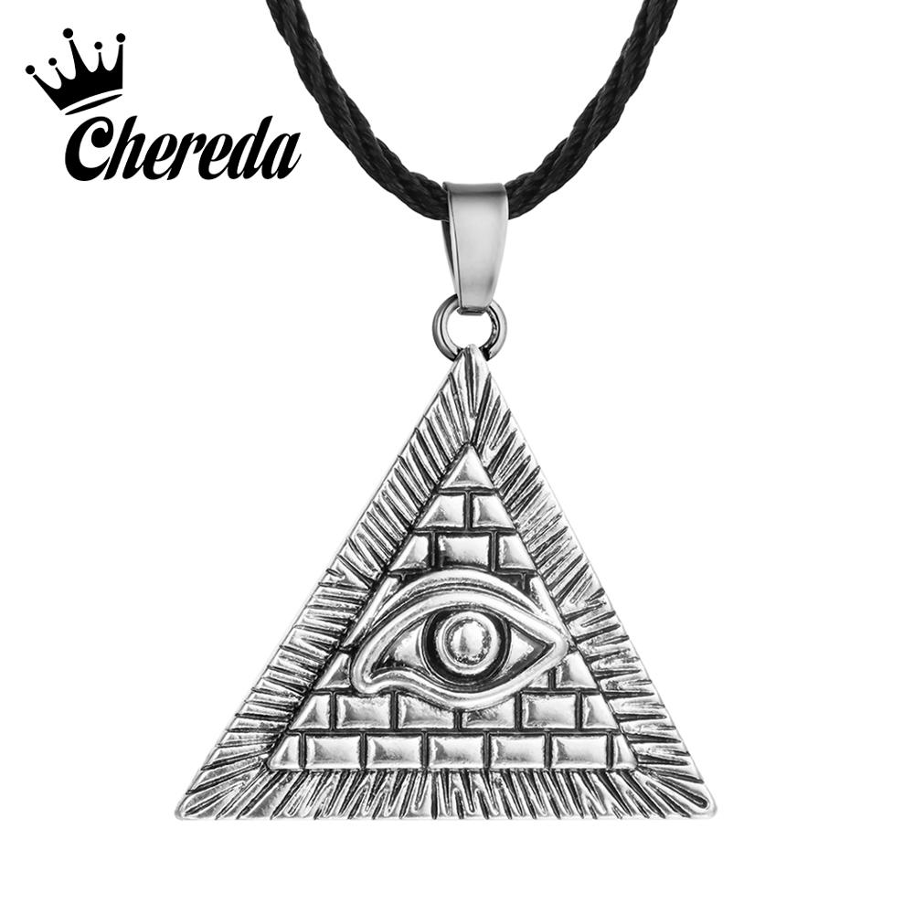 Chereda Egyptian Egypt Pyramid Pendants for Men Punk Style Rope Chain Necklaces Triangle Evil Eye Illuminati Jewelry