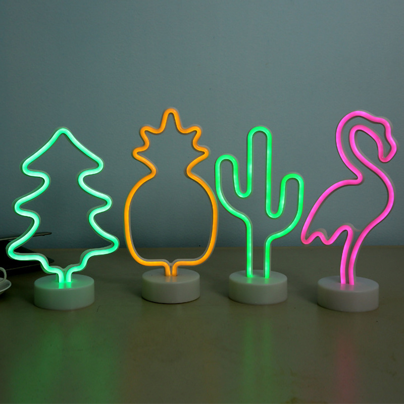 Neon Sign Table LED Night Light Cactus Coconut Tree Christmas Tree Pineapple 3D Neon Table Desk Lamp For Festival Party Decor ropio love letters shape led night lights table lamp wall hanging neon light for festival wedding party decoration lighting