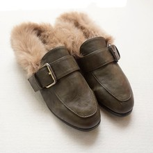 2017 Women Rabbit Fur Slides Girls Mules Chiara Ferragni Furry Slipper Flat Heel Platform Flip Flops Slipony Mule Sandals Shoes