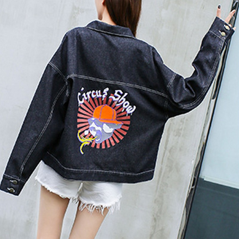 65310c863350c EXOTAO Back Print Harajuku Jeans Jackets Women 2017 Winter Black Denim  Coats Female Long Sleeve Turn down Collar Warm Jaquetas-in Basic Jackets  from Women s ...