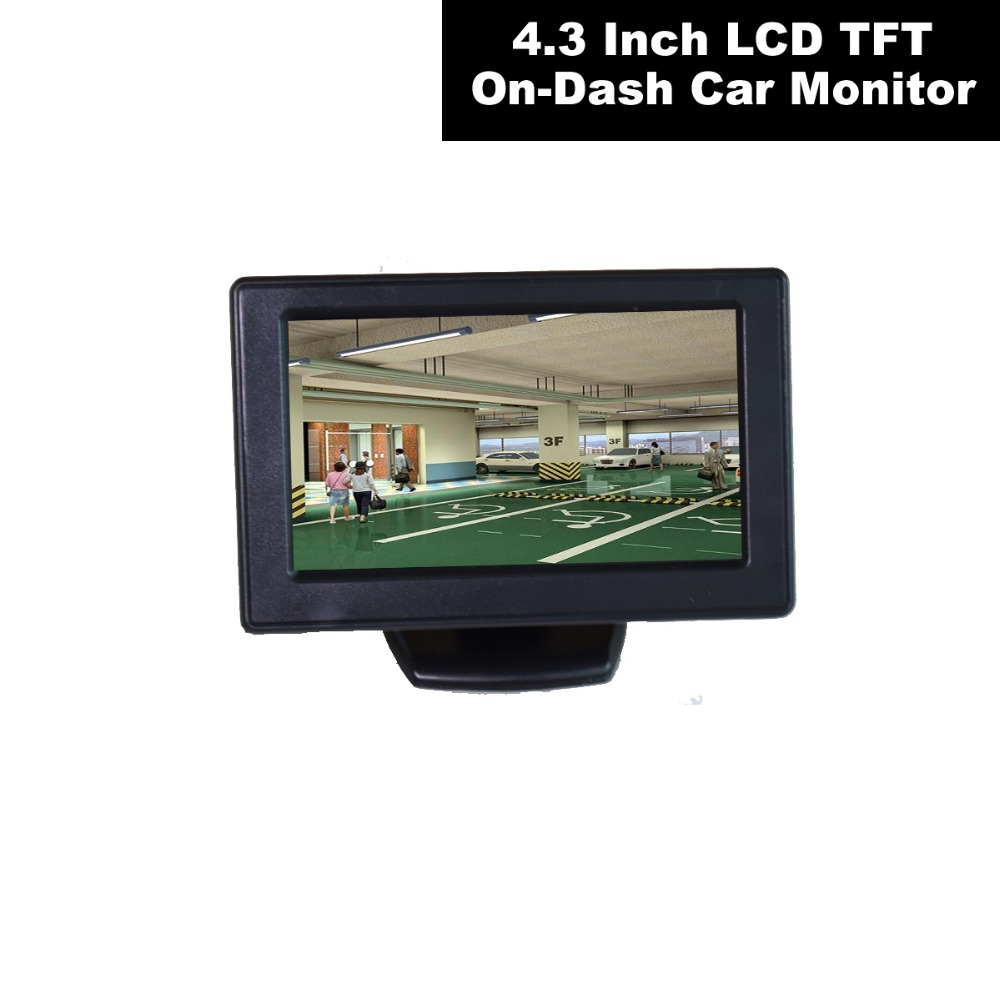 Universal 12 V 24 V 4,3 zoll Auto Video-Monitor Lcd-bildschirm für Auto Backup Rückansicht Armaturenbrett 2RCA Video Kanal