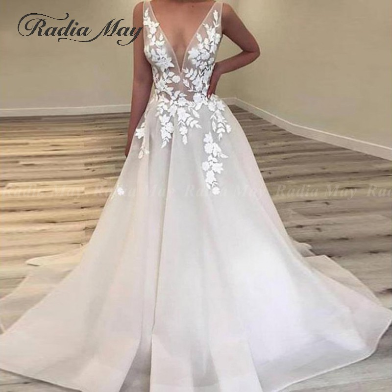 Sexy Deep V Neck Lace Floral Wedding Dress 2020 Summer Beach Bridal Dresses Appliques Simple Bohemian Backless Wedding Gowns Wedding Dresses Aliexpress,Best Wedding Dress Designers 2020