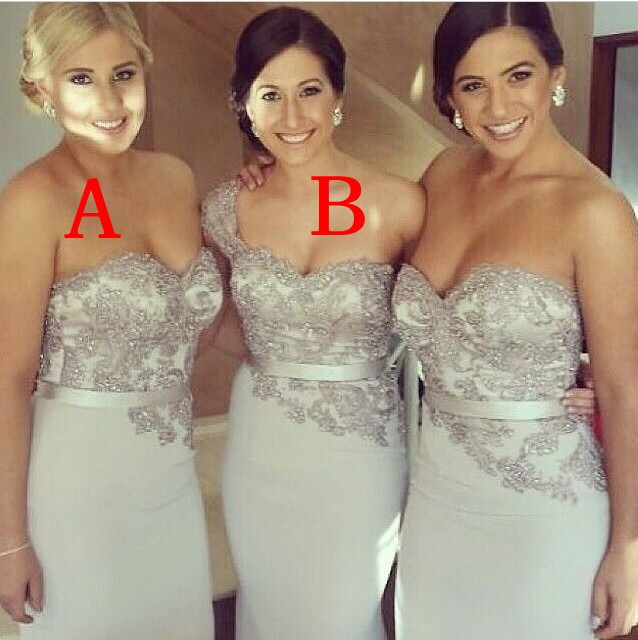 Silver Bridesmaid Dress Plus Size Mermaid Dress For Party Over Satin