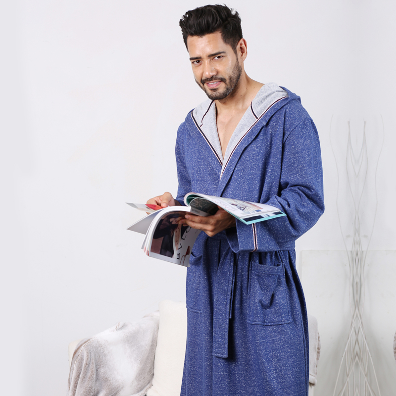 Mens Blue Robes 2018 New Knit Home Hooded Robe With Spring Autumn Cotton Health Fabrics Mens Blue Japanese Robes