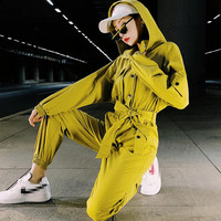 yellow cotton jumpsuit spring autumn women hooded long sleeve elastic waist button up ribbed trousers long jumpsuit overalls