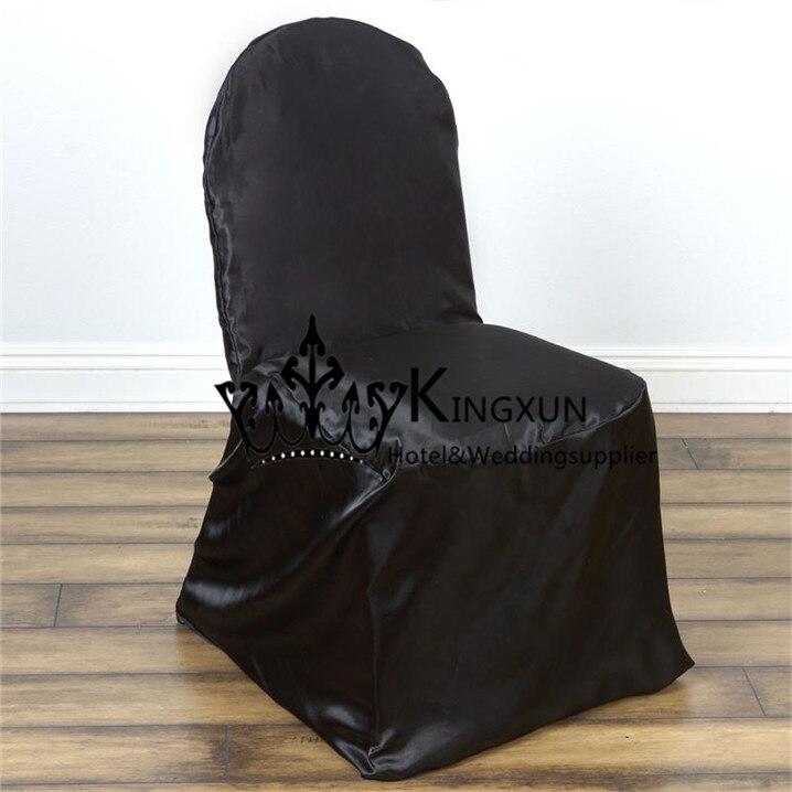 Черный Цвет Атлас Чехлы для стульев для банкета стул Бесплатная доставка