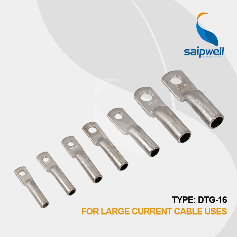 Saipwell 16mm2 DTG-16 100 PCS/LOT fil bout à bout cuivre sertissage connecteur de câblage sertissage électrique sertissage fil connecteurs terminal
