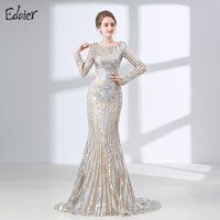 Luxury Long Sleeves Evening Dresses 2017 Mermaid Sequin Muslim Arabic Style Women Formal Evening Party Gown