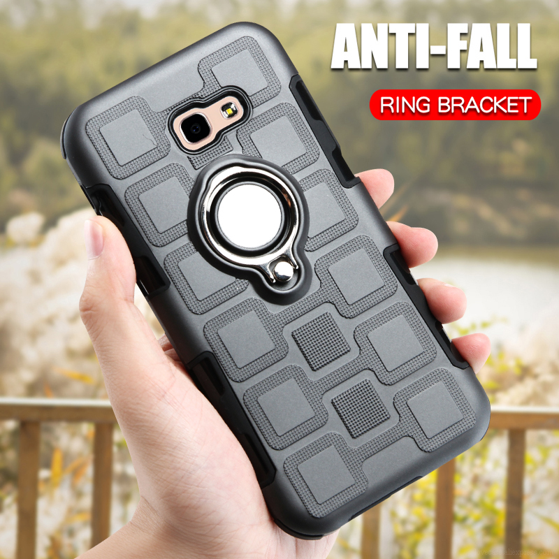 Luxury Armor <font><b>Case</b></font> For <font><b>Samsung</b></font> Galaxy A3 <font><b>A5</b></font> A7 2017 A320 A520 A720 Shockproof Phone Cover TPU Silicone Anti-Fall Ring Holder <font><b>Case</b></font> image