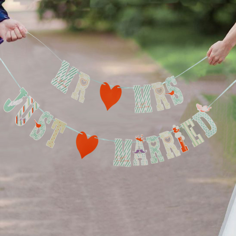 MR AND MRS JUST MARRIED Wedding Banner Party Decor...