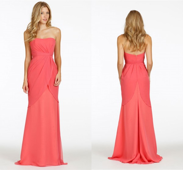 2016 New Arrival Strapless Floor Length Double deck Rose Red Chiffon Backless A line font b