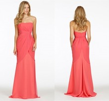 2016 New Arrival Strapless Floor-Length Double-deck Rose Red Chiffon  Backless A-line Dress For Bridesmaid