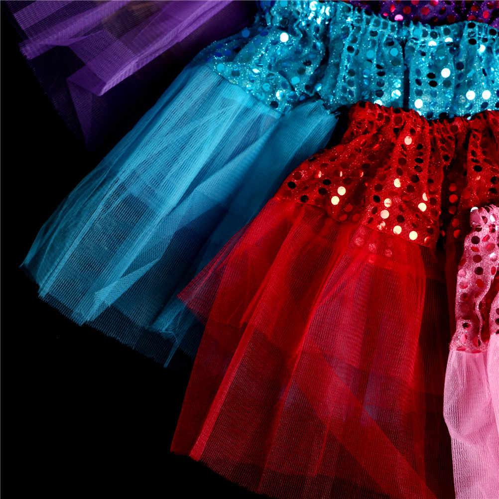 Falda tutú de baile brillo de estrella de bebé para niñas lentejuelas 3 capas tul niño Pettiskirt niños Fit para 70- 120 cm bebé chica