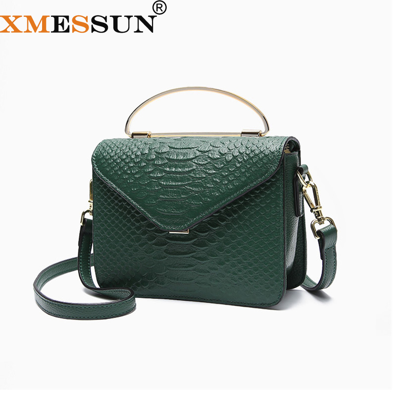 XMESSUN Snake Bag Genuine Leather Handbag Luxury Handbags Women Bags Designer Crocodile Texture Shoulder Crossbody Dropship