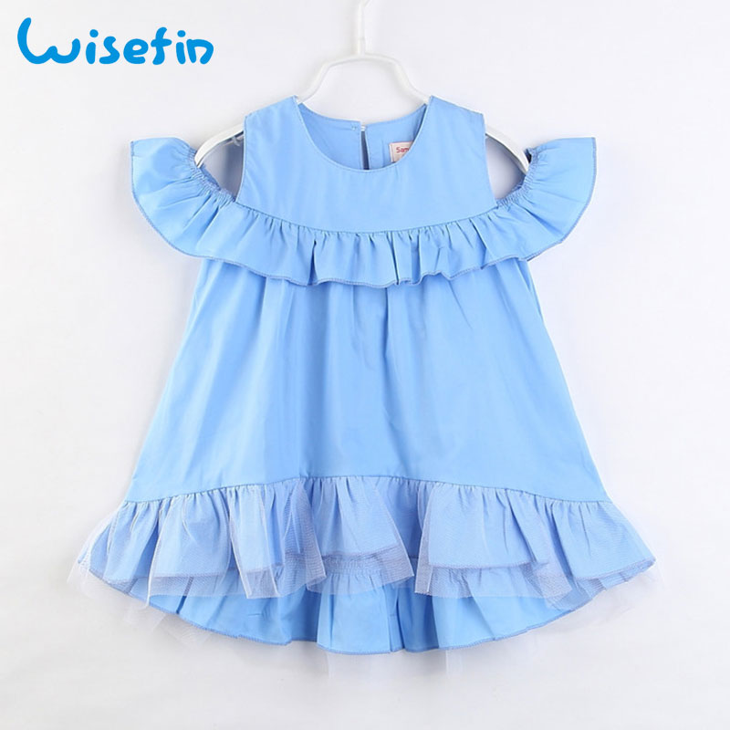 Wisefin Baby Dresses For Girl Clothing Summer Blue Fashion Princess Dress Kids Beach Feifei-Sleeve Toddler Girl Clothes Summer